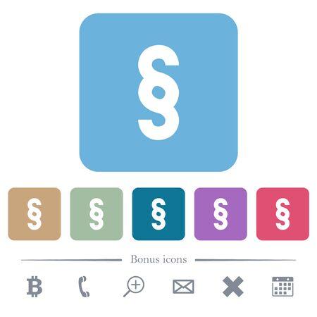 Paragraph symbol white flat icons on color rounded square backgrounds. 6 bonus icons included Ilustração