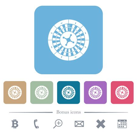 Roulette wheel white flat icons on color rounded square backgrounds. 6 bonus icons included