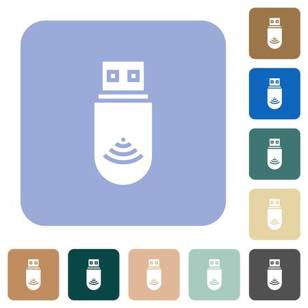 USB wifi dongle white flat icons on color rounded square backgrounds Ilustração