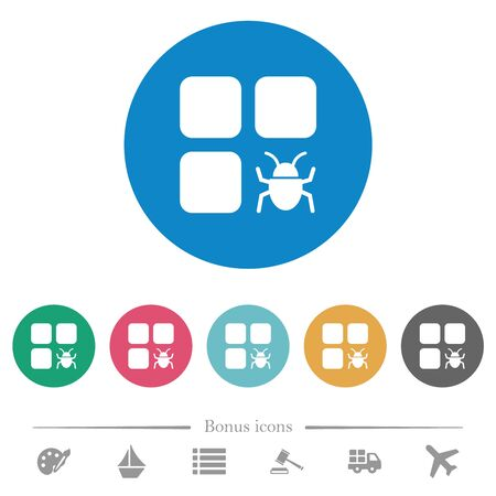 Component bug flat white icons on round color backgrounds. 6 bonus icons included.