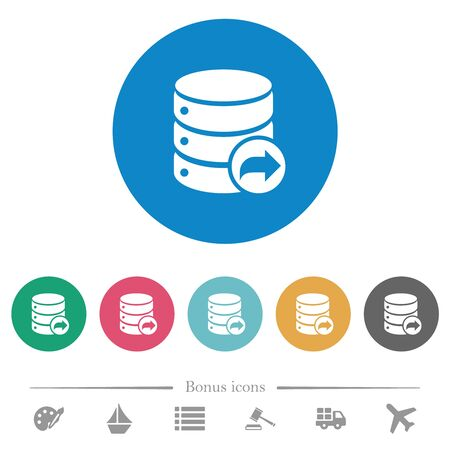 Database transaction commit flat white icons on round color backgrounds. 6 bonus icons included.  イラスト・ベクター素材