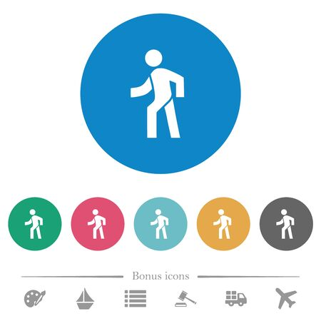 Man walking left flat white icons on round color backgrounds. 6 bonus icons included.