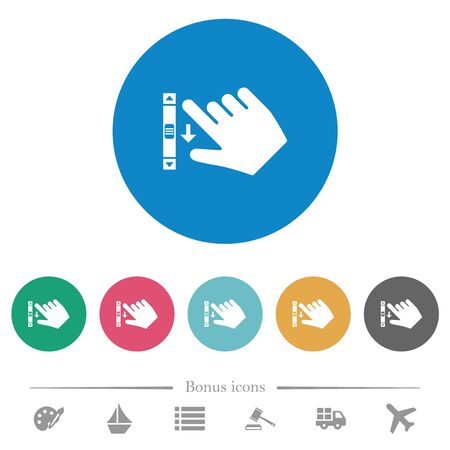 Right handed scroll down gesture flat white icons on round color backgrounds. 6 bonus icons included.