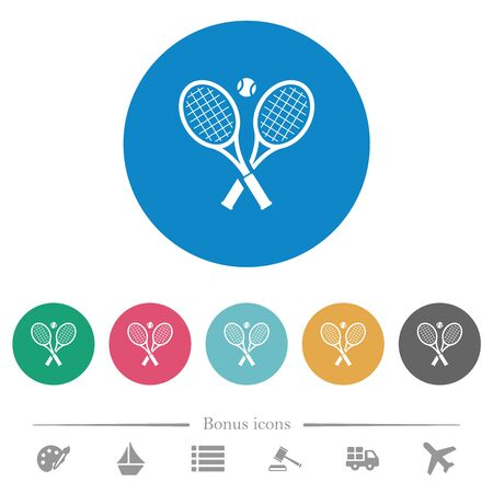 Tennis rackets with ball flat white icons on round color backgrounds. 6 bonus icons included.