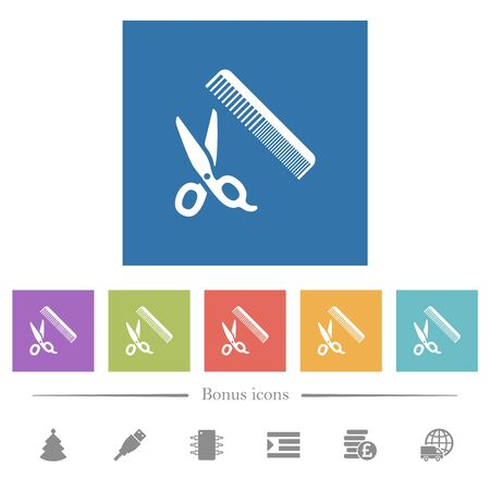 Comb and scissors flat white icons in square backgrounds. 6 bonus icons included.