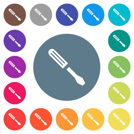 Single screwdriver flat white icons on round color backgrounds. 17 background color variations are included.