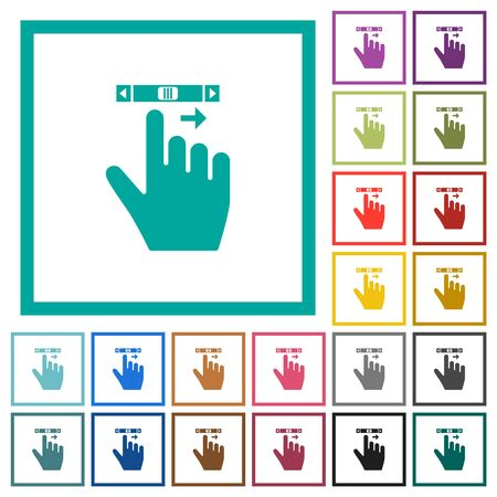 right handed scroll right gesture flat color icons with quadrant frames on white background