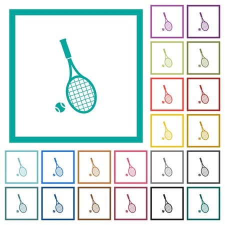 Tennis racket with ball flat color icons with quadrant frames on white background Illustration