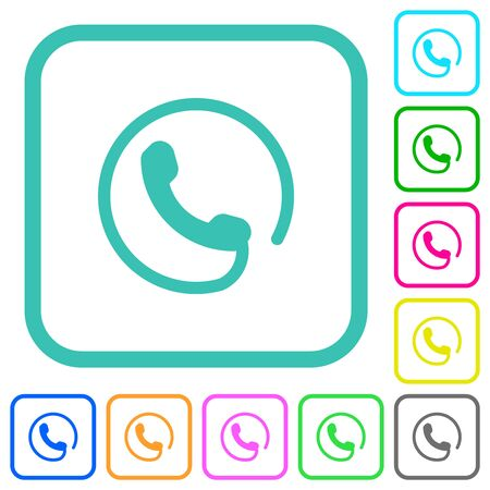 Hotline vivid colored flat icons in curved borders on white background