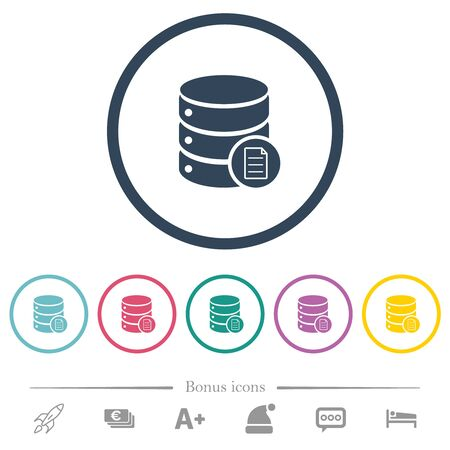 Database properties flat color icons in round outlines. 6 bonus icons included.
