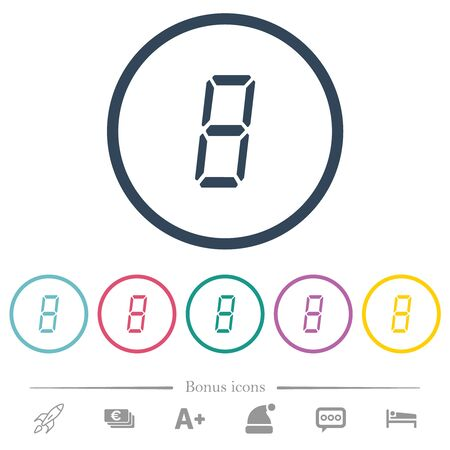 digital number eight of seven segment type flat color icons in round outlines. 6 bonus icons included.
