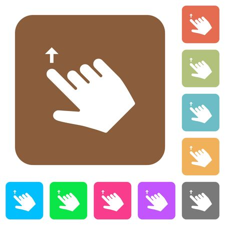 Right handed move up gesture flat icons on rounded square vivid color backgrounds.