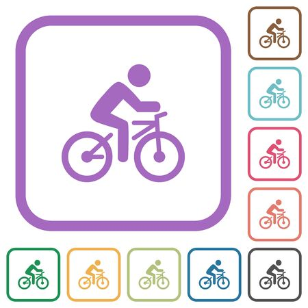 Bicycle with rider simple icons in color rounded square frames on white background