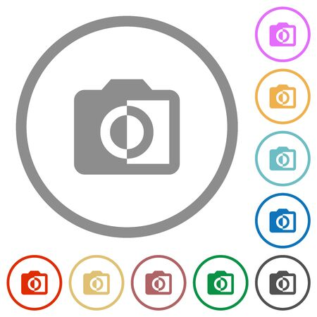 Monochrome photos flat color icons in round outlines on white background