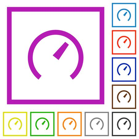 Speedometer flat color icons in square frames on white background