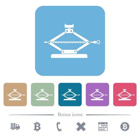Car jack white flat icons on color rounded square backgrounds. 6 bonus icons included Ilustração