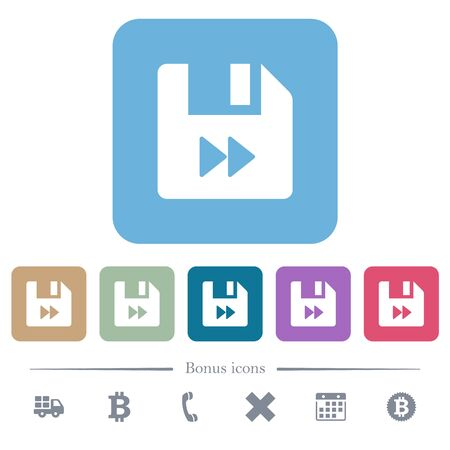File fast forward white flat icons on color rounded square backgrounds. 6 bonus icons included