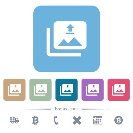 Upload multiple images white flat icons on color rounded square backgrounds. 6 bonus icons included