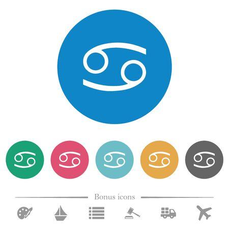 Cancer zodiac symbol flat white icons on round color backgrounds. 6 bonus icons included.