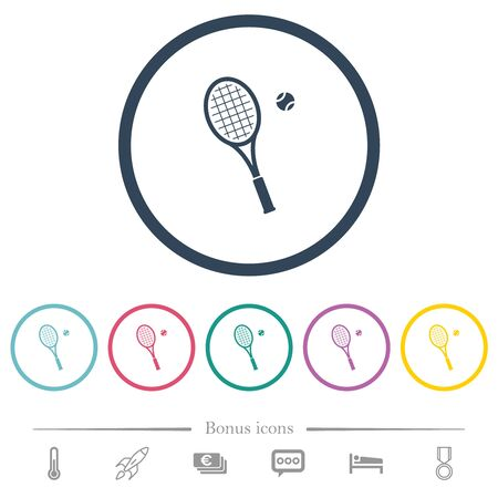 Tennis racket with ball flat color icons in round outlines. 6 bonus icons included.