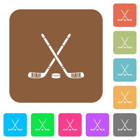Hockey sticks with puck flat icons on rounded square vivid color backgrounds.
