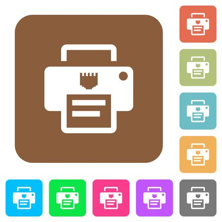 IP printer flat icons on rounded square vivid color backgrounds.