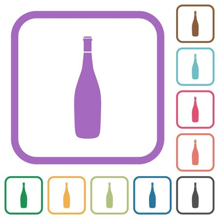 Wine bottle simple icons in color rounded square frames on white background
