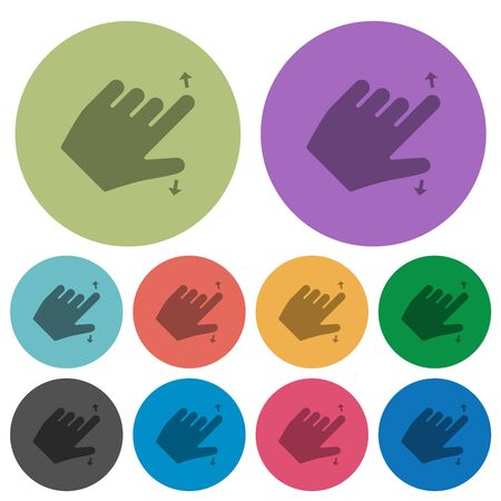 Left handed pinch open gesture darker flat icons on color round background Ilustrace
