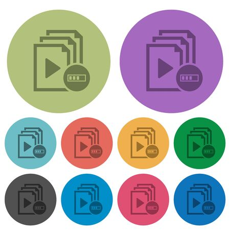 Processing playlist darker flat icons on color round background