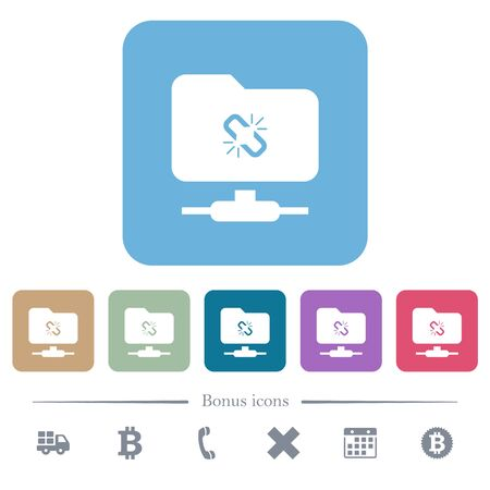 FTP connection lost white flat icons on color rounded square backgrounds. 6 bonus icons included