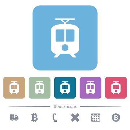 Tram white flat icons on color rounded square backgrounds. 6 bonus icons included