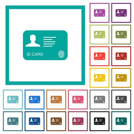 ID card with fingerprint flat color icons with quadrant frames on white background