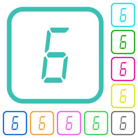 digital number six of seven segment type vivid colored flat icons in curved borders on white background