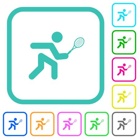 Tennis player vivid colored flat icons in curved borders on white background