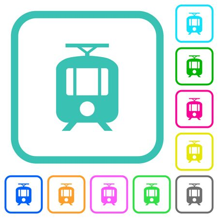 Tram vivid colored flat icons in curved borders on white background