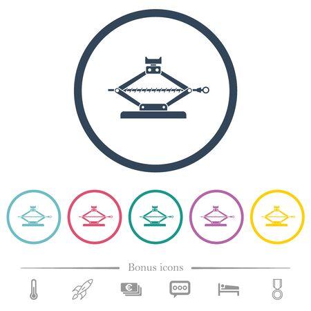 Car jack flat color icons in round outlines. 6 bonus icons included. Illusztráció