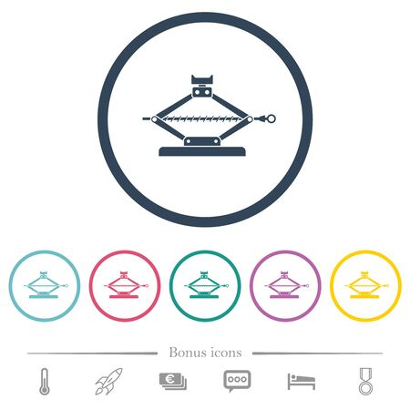 Car jack flat color icons in round outlines. 6 bonus icons included. Illustration