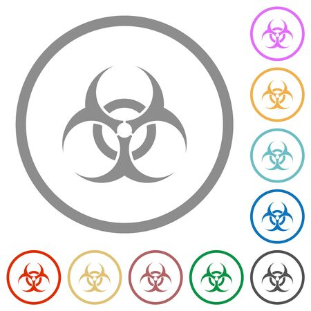 Biohazard sign flat color icons in round outlines on white background Ilustração
