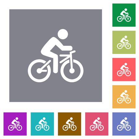 Bicycle with rider flat icons on simple color square backgrounds Ilustração