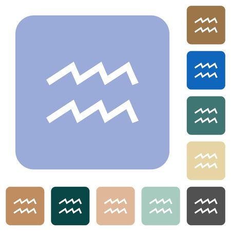 aquarius zodiac symbol white flat icons on color rounded square backgrounds Illusztráció