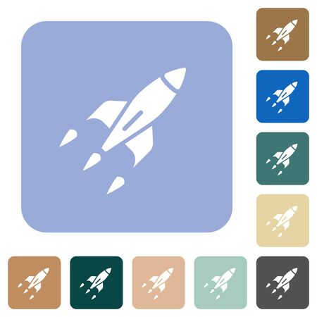 Rocket white flat icons on color rounded square backgrounds