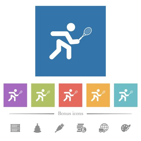 Tennis player flat white icons in square backgrounds. 6 bonus icons included.
