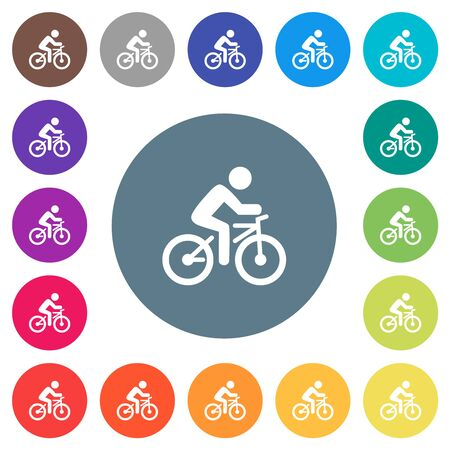Bicycle with rider flat white icons on round color backgrounds. 17 background color variations are included.