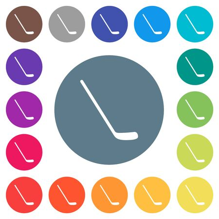 Ice hockey stick flat white icons on round color backgrounds. 17 background color variations are included.