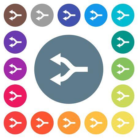 Split arrows left flat white icons on round color backgrounds. 17 background color variations are included. Illusztráció