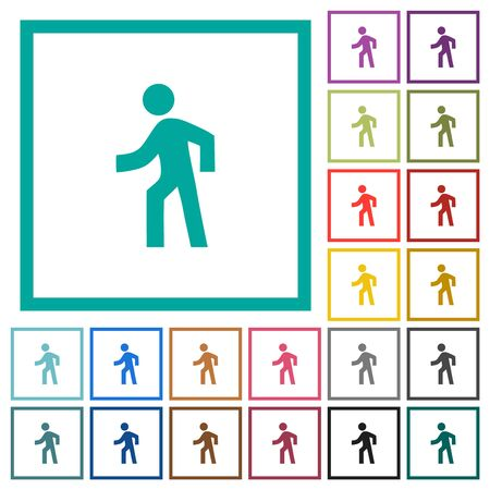 Man walking left flat color icons with quadrant frames on white background