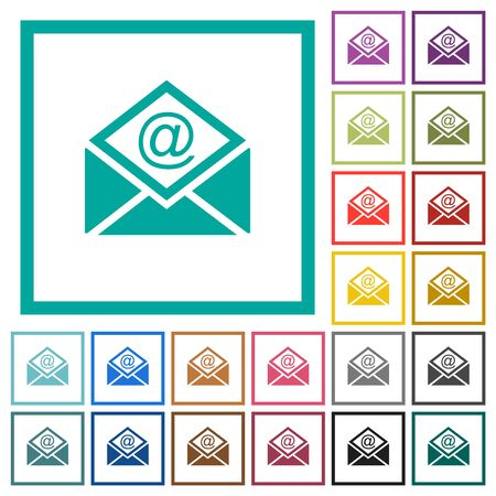 Open mail with email symbol flat color icons with quadrant frames on white background