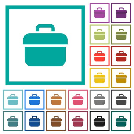 Toolbox flat color icons with quadrant frames on white background