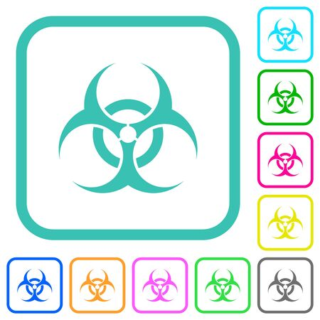 Biohazard sign vivid colored flat icons in curved borders on white background Vectores