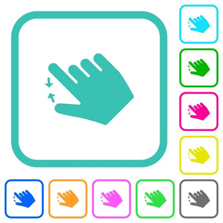 Right handed pinch close gesture vivid colored flat icons in curved borders on white background Illusztráció